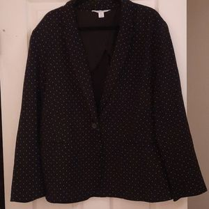 Black polka-dot boyfriend blazer stretch